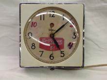 Vintage Primitive Dr. Pepper Telchrom Wall Clock