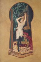 Woman through a Keyhole by H. Zatzka Oil on Canvas
