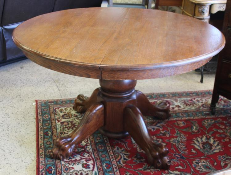 Vintage round lion paw dining room table w leaf for Round dining table w leaf