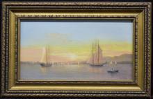 Francis Augusta Silva Harbor Scene O/B