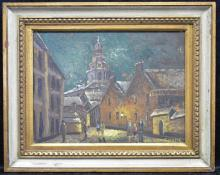 (after) Georges Girard Village Night Scene O/C