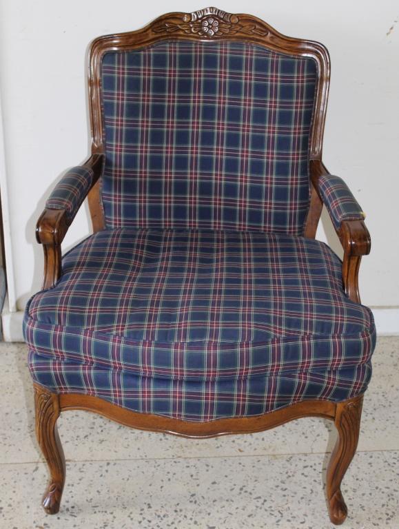 Vintage upholstered bernhardt plaid chair
