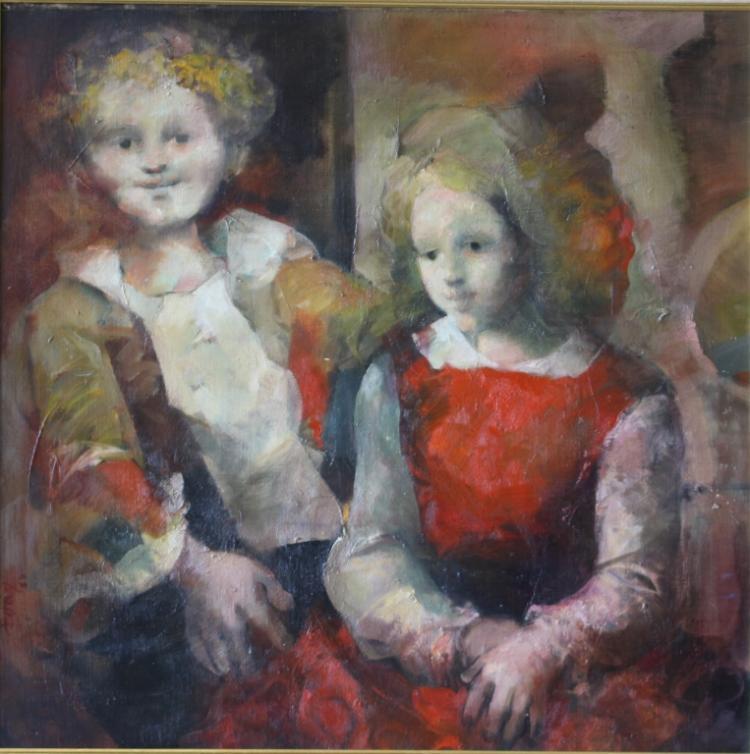 Jose De Luis Dois Martinez Boy & Girl Oil/Canvas