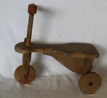 Vintage Primitive Child's Wooden Tricycle