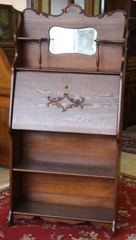 Antique Drop Front Secretary Desk >> Antique Tiger Oak Drop Front Secretary Desk