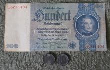 WWII Nazi Germany 100 Reichsmark & 2 Germany Coins