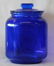 Cobalt Blue Glass Counter-top Peanut Jar w/ Lid