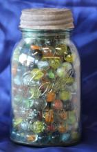 Vintage Blue Ball Canning Jar Full of Marbles!