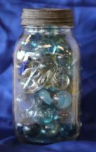 Vintage Blue Ball Jar Full of Shooter Marbles!