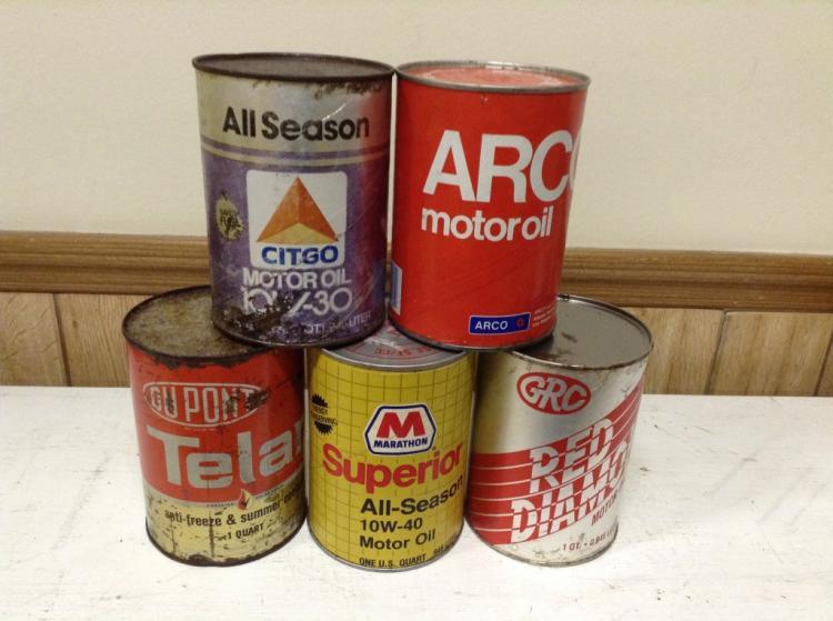 Lot Of 5 Vintage Citgo More Motor Oil Cans 1qt