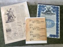 3 pcs. Bank Notes, Railroad Stock & Harper's
