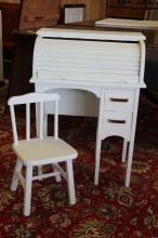 Vintage Child's Roll-top Desk  w/ Chair