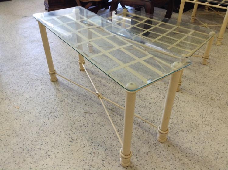 Glass Top Metal Sofa Table