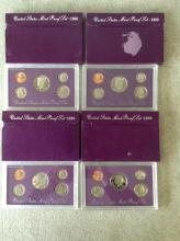2 1988 & 2 1990 U.S. Mint Proof Sets