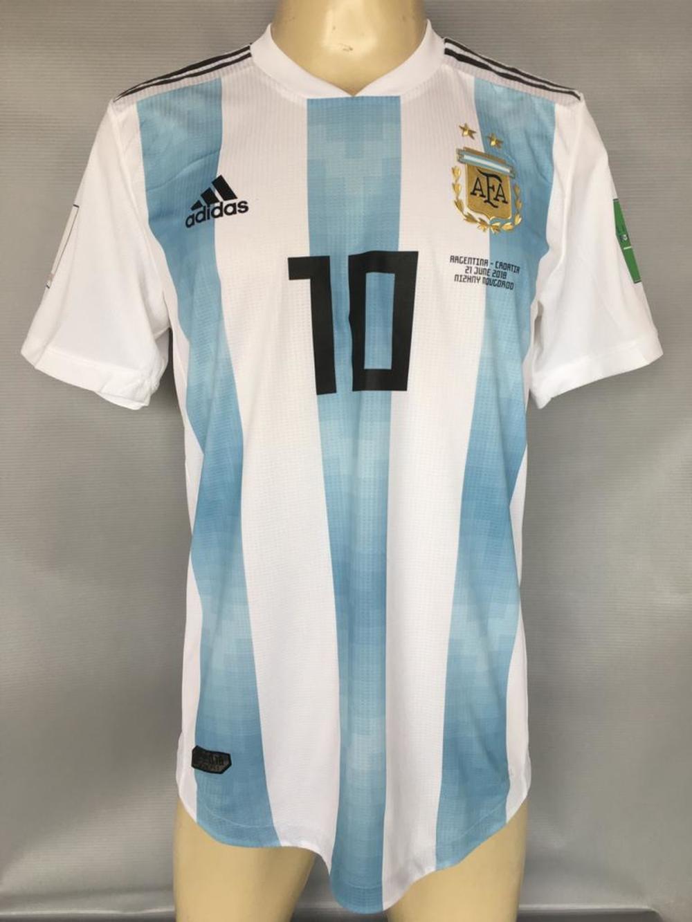 reputable site f3bbf db163 Argentina #10 Messi Match Worn Shirt World Cup 2018 x Croati