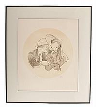 Al Hirschfeld - K. Hepburn & S. Tracy - Autographed Original Etching - Framed