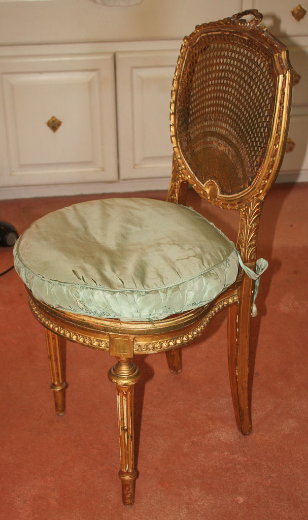 Lot French Gilt And Cane Vanity Chair