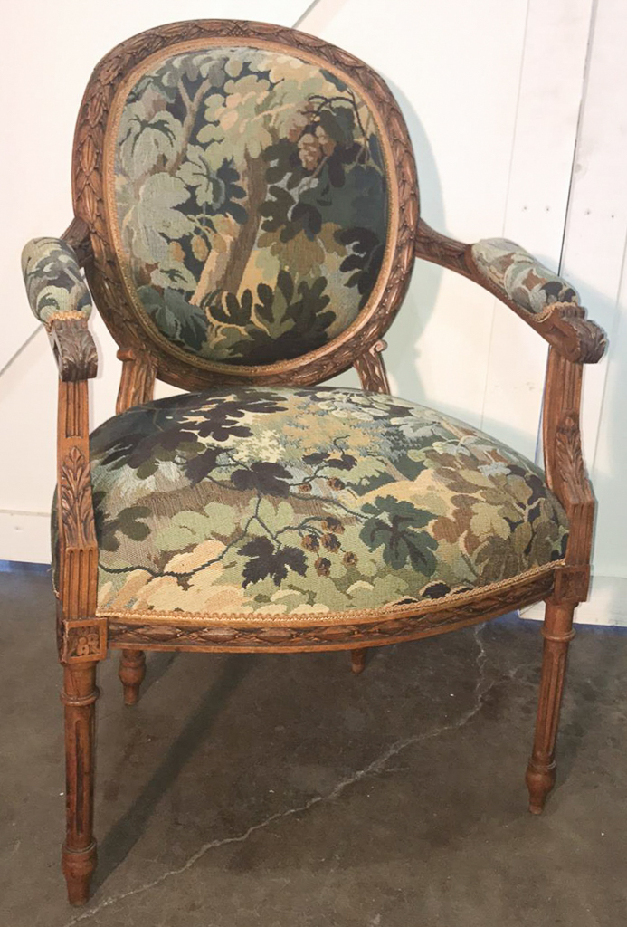 Laurel Carved Louis Xv Fauteuil With Tapestry