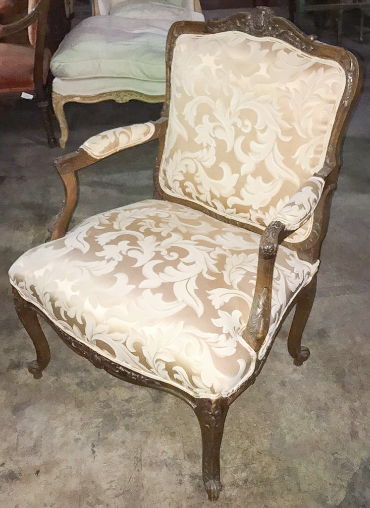 French Louis Xv Walnut Fauteuil Silk Damask