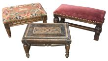 Group Of Three Antique Footstools, All Small