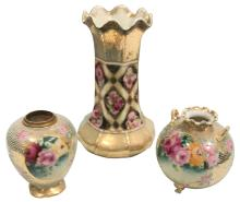 Three Pieces, Early Japanese Nippon Porcelain,