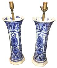 Great Pair Of Antique Dutch Delft Porcelain