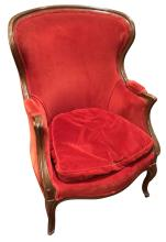 Antique French Beechwood Bergere, Early 20th