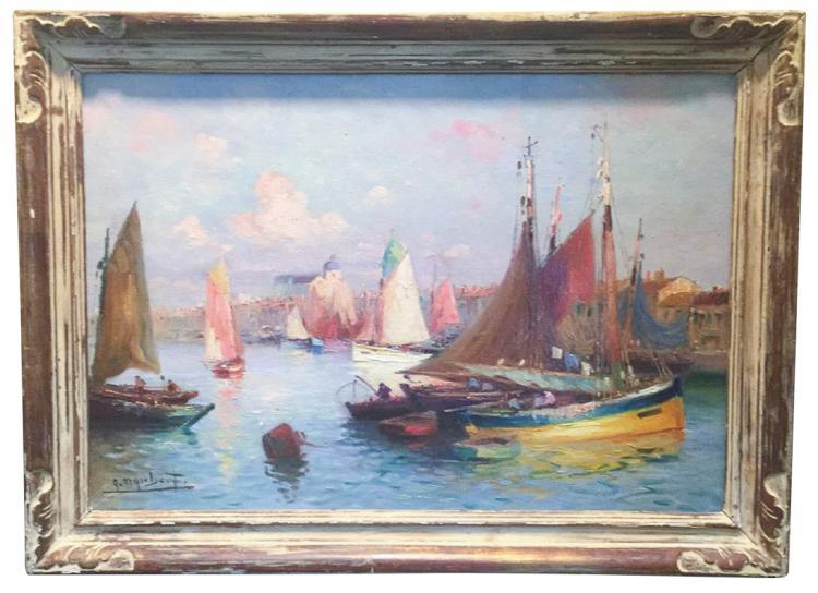 French Oil, Impressionist Harbor Scene, Late