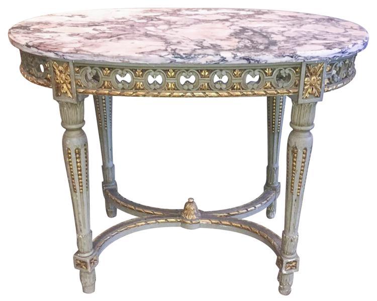 19th C. French Louis Xvi Parcel Gilt Table