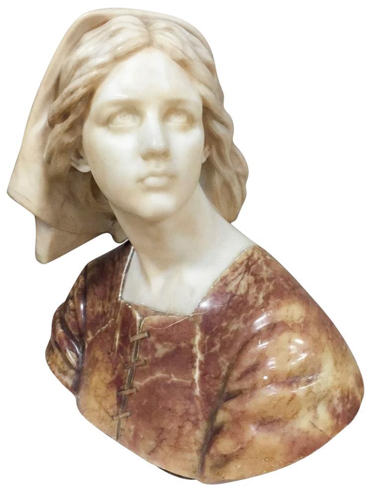 Fine Art Deco Italian Bust Of Young Beauty,