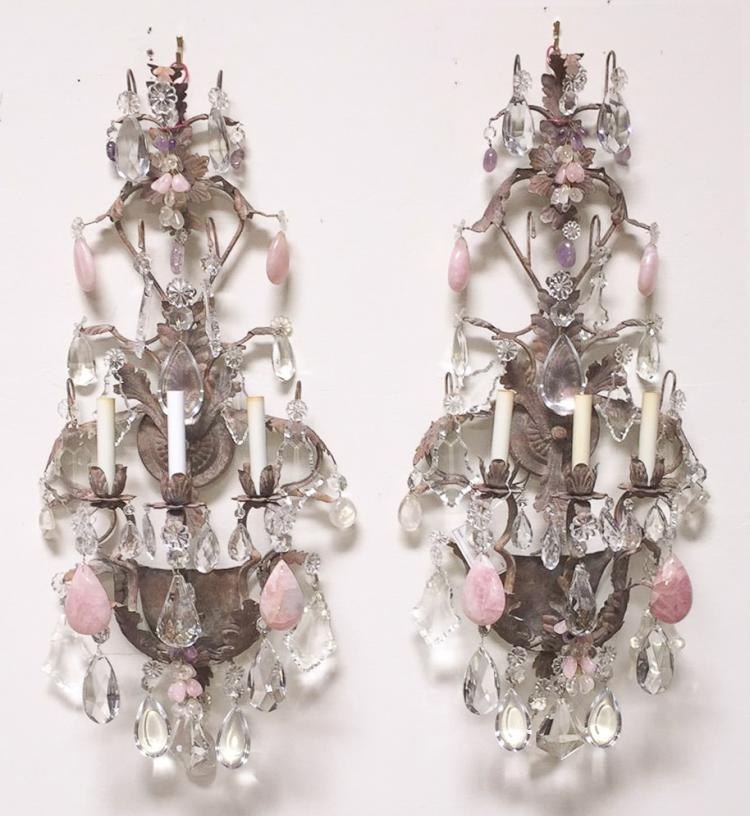 Exquisite Pair Of Three Light Wall Sconce,