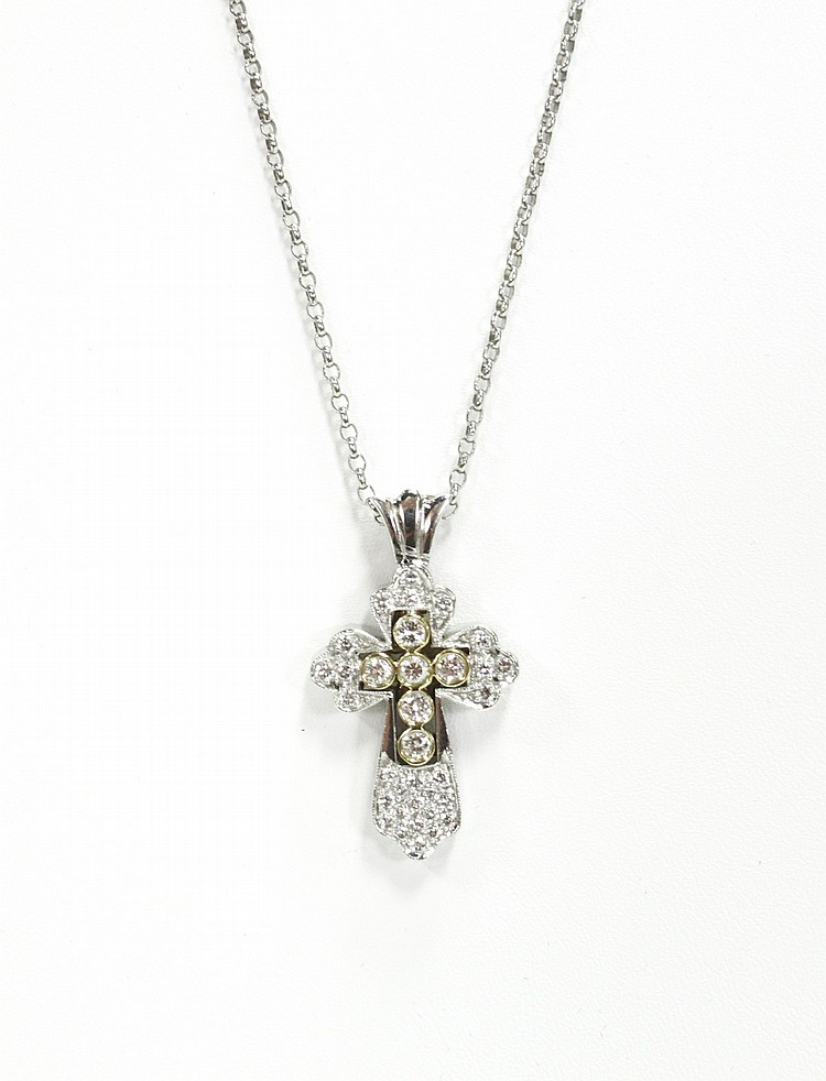 Platinum Cross W Diamonds On White Gold Necklace