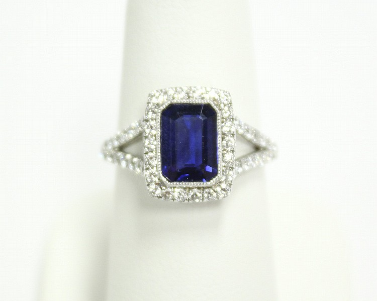 Platinum Diamond & Sapphire Dinner Ring