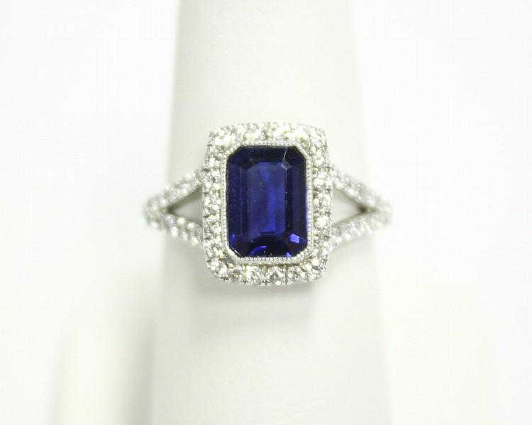 Platinum Diamond & Sapphire Dinner Ring