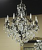 Heavy Patinated Metal Chandelier