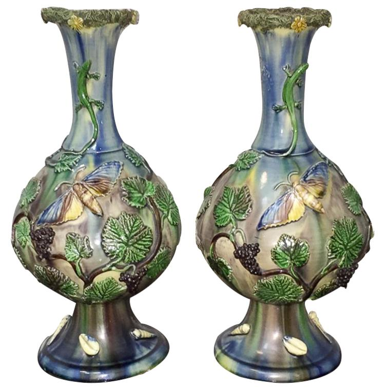 Pair Of 19h C. French Palissy Vases