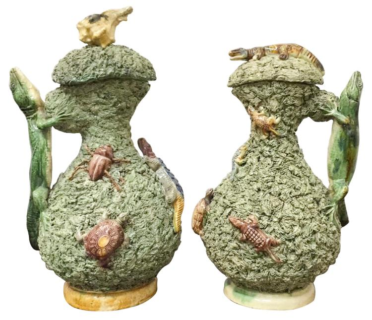 Nice Pair Of French Palissy Reptile Pitchers