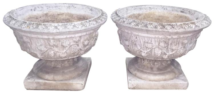 Nice Pair Of Antique French Stone Planters,