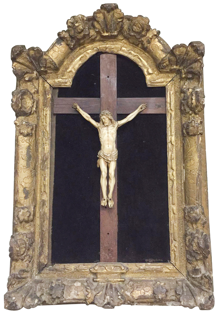 18th Century Gilt Wood Framed Crucifix