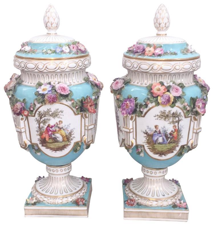 Exquisite Pr. Meissen Capped Vases, Profusely