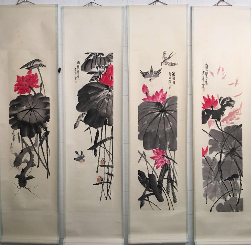 4 Pieces of Chinese Hanging Scroll of 'Lotus' Painting