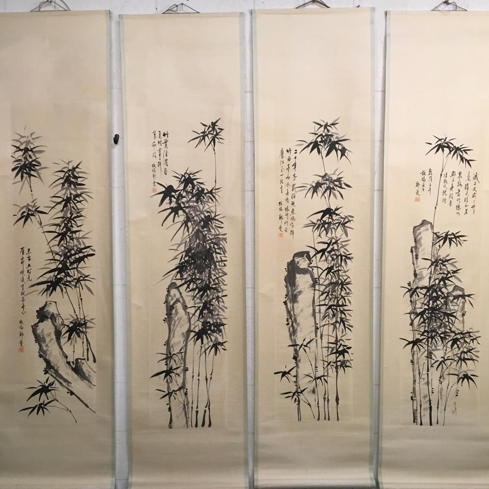 4 Pieces of Chinese Hanging Scroll of 'Bamboo' Paintings
