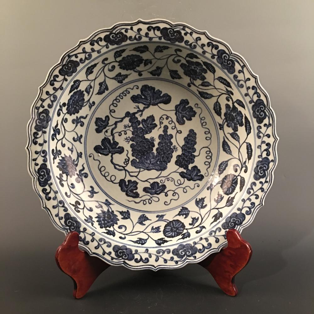 Chinese Blue-White 'Grapes & Lotus' Plate, Xuande Mark