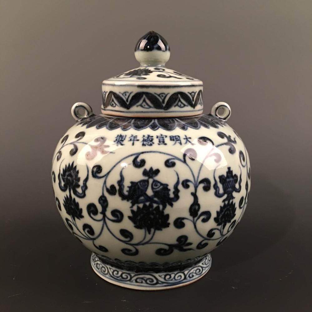 Chinese Blue-White 'Fish & Lotus' Jar and a Cover, Xuande Mark