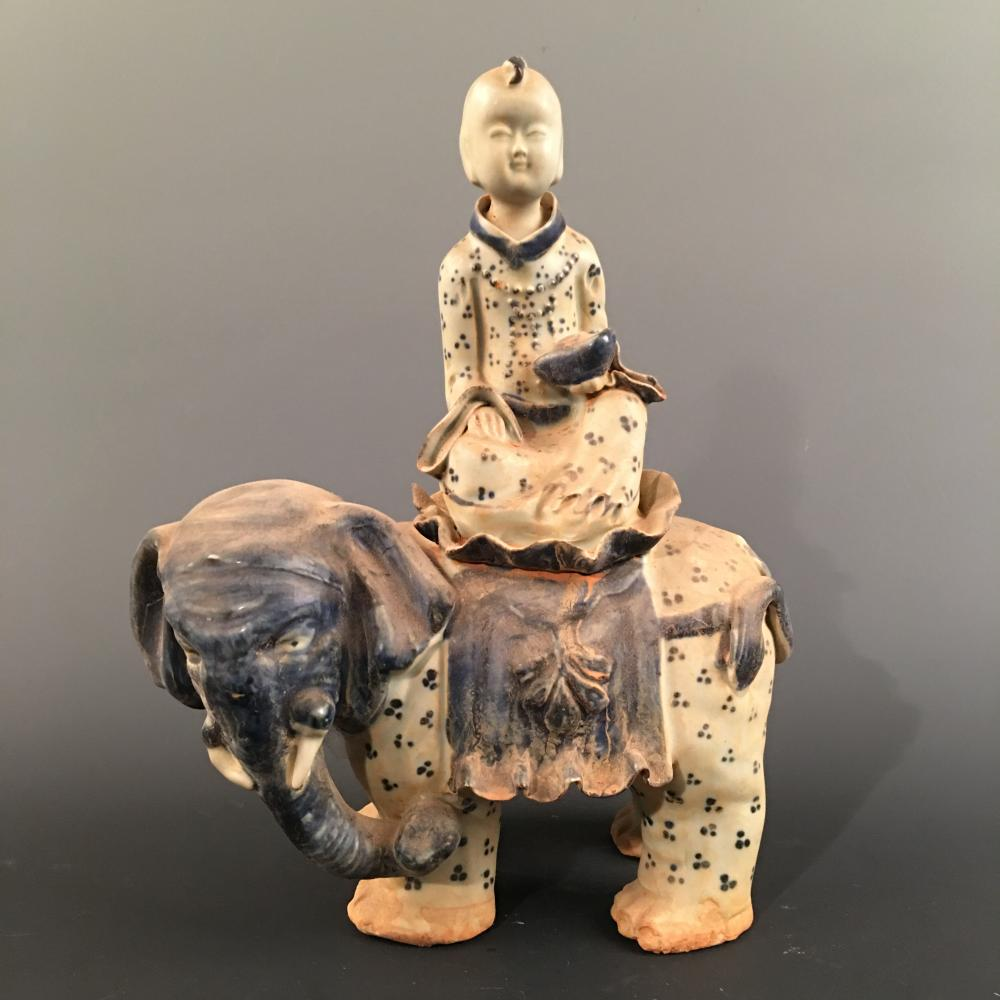 Chinese Blue-White 'Kid on Elephant' Ornament
