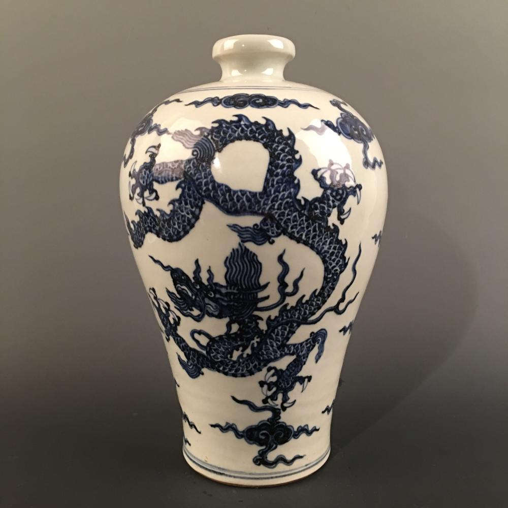 Chinese Blue-White 'Dragon' Meiping Vase