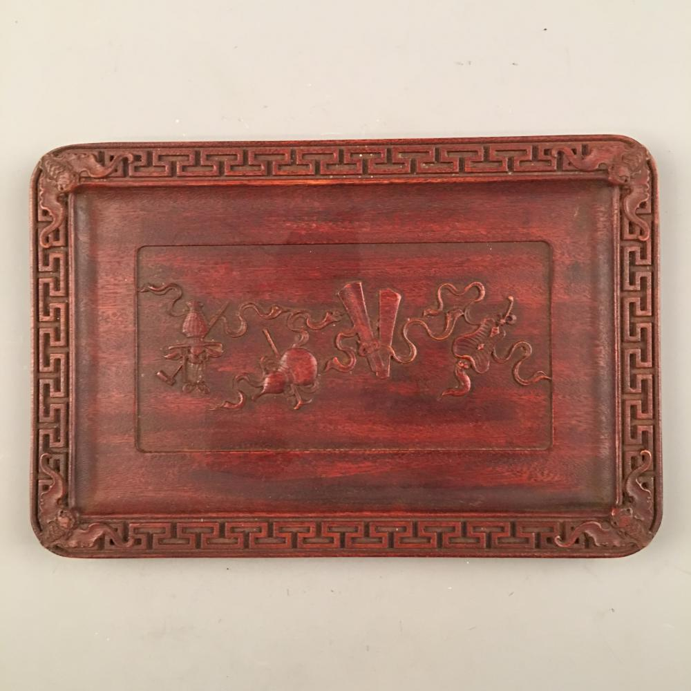 Chinese  Red Wood Tray