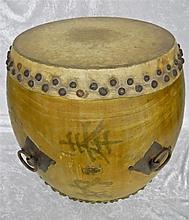 Japanese Wooden Kettle Drum, Kanji Signature