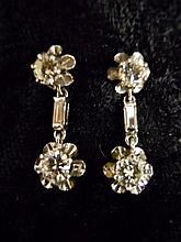 Pair 14K White Gold, Diamond Earrings