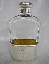 Asprey London Sterling and Crystal Pocket Flask
